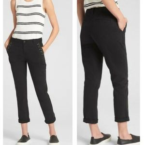 Gap Black Girlfriend Chinos W/Grommets NWT - 12